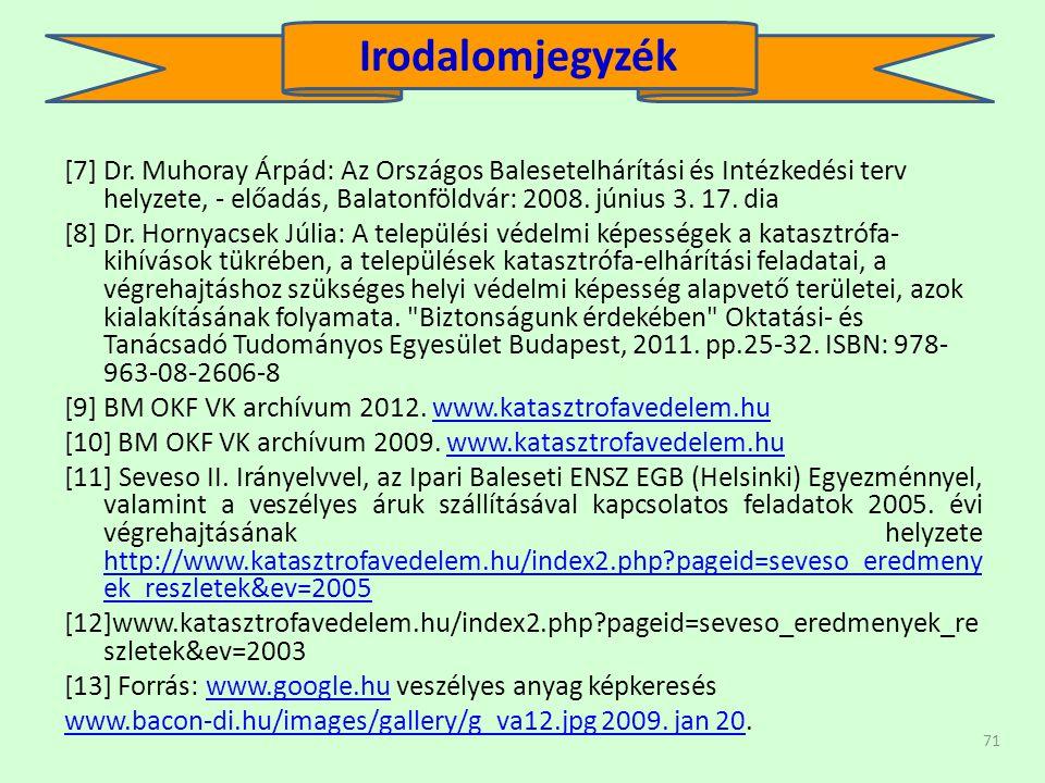 Irodalomjegyzék [7] Dr. Muhoray Árpád: Az Országos Balesetelhárítási és Intézkedési terv helyzete, - előadás, Balatonföldvár: 2008. június 3. 17. dia.